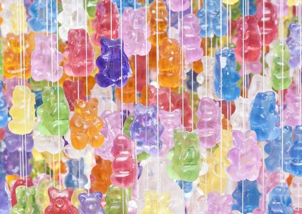 3.) Buy acrylic gummy bears (real ones may melt) and build your own gummy chandelier.