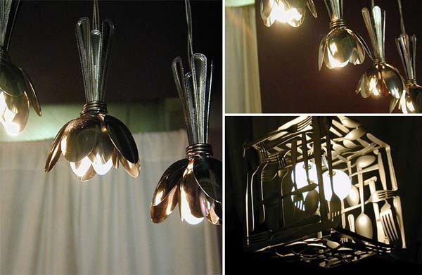 14.) Find cheap sliverware at the thrift shop? Make these cool lamps.