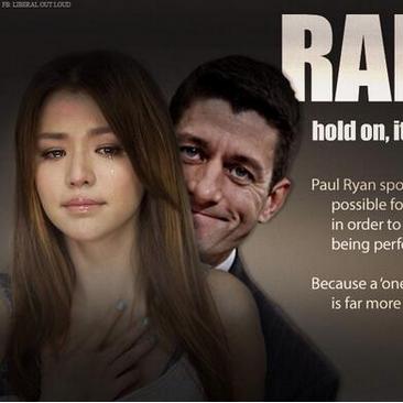 Demented lib comments on rape culture by depicting Paul Ryan as rapist[pic]