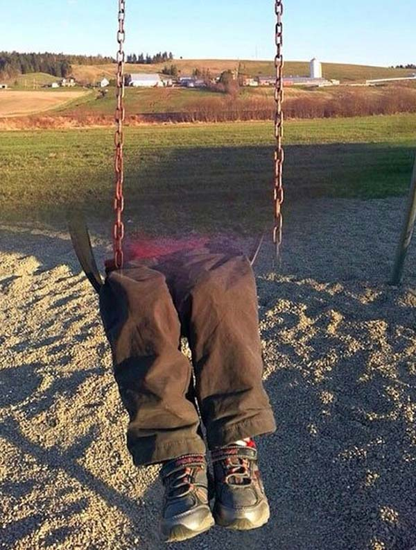 12.) Warning: swings can make body parts disappear.