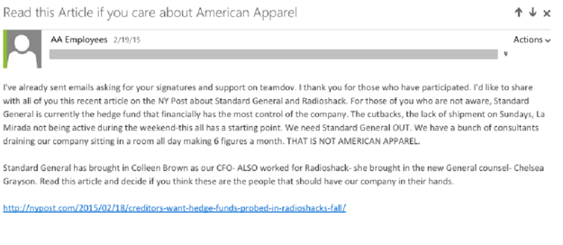 A Team Dov email sent to employees on Feb. 19