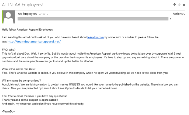 Team Dov email sent to employees on Feb. 16