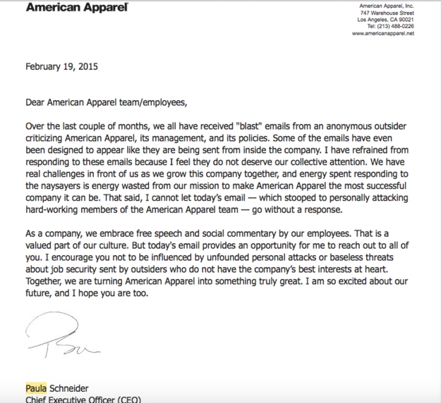 Internal memo from American Apparel's CEO about problematic emails.