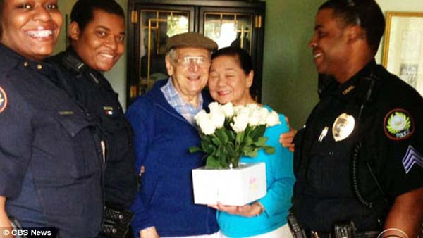 Luckily, cops finally located him. When he returned home, he had a big bouquet of roses for his wife.
