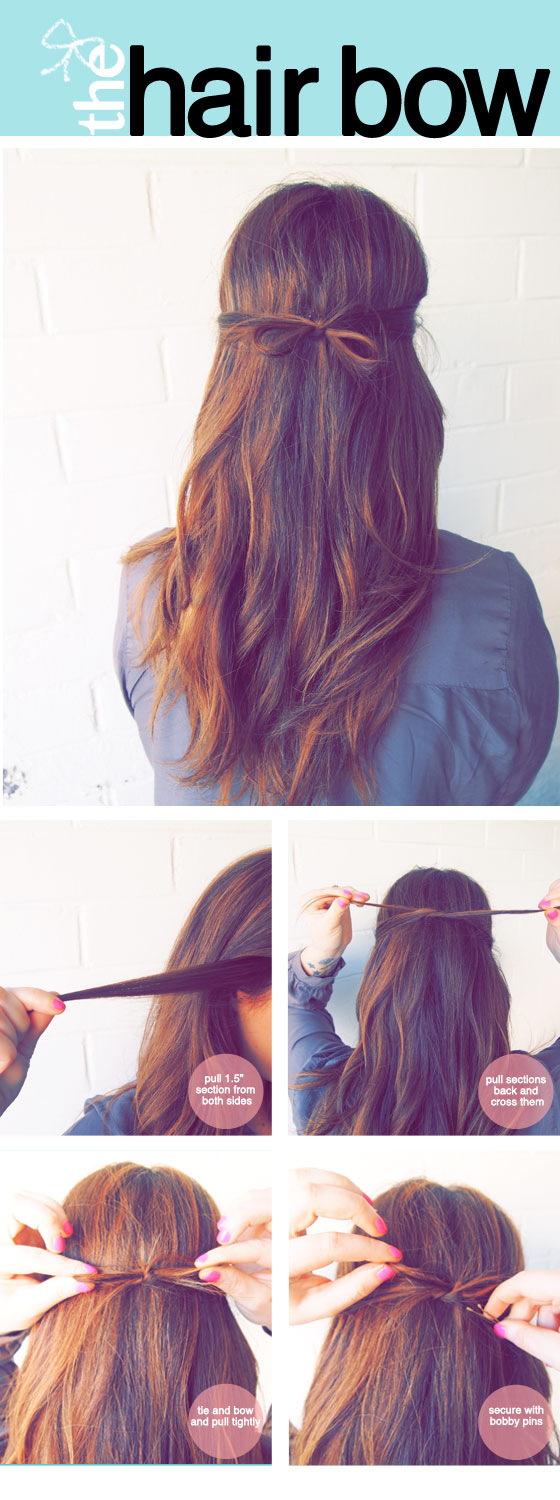 Create a cute bow using your own hair.