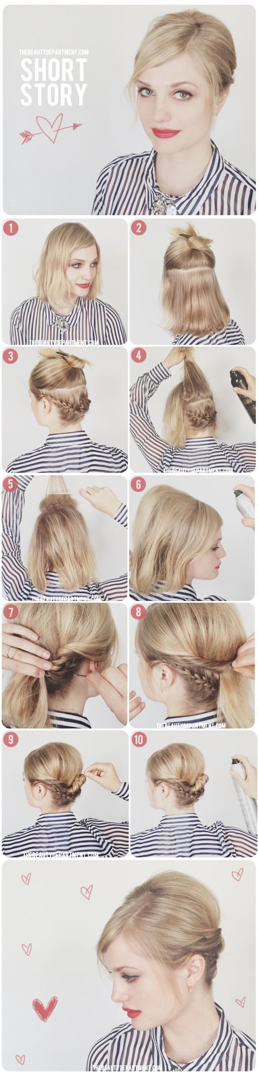 Girls with medium-length bobs can do cute braided updos, too.
