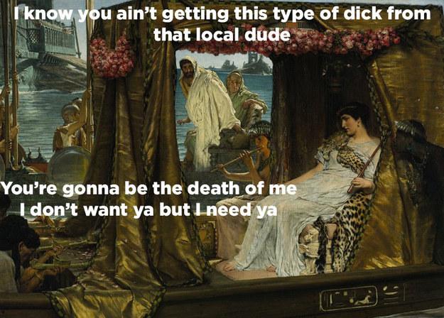 Cleopatra meets Marc Antony: