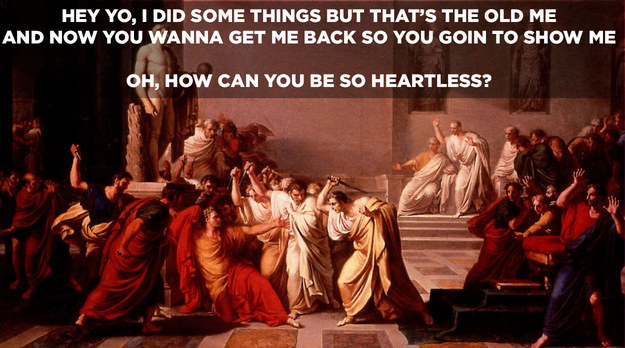 "Caesar is murdered by the senate on The Ides of March. ""Et, tu Brute?"":"