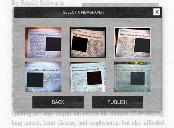 If you're satisfied with the words, choose your favorite newspaper filter...and then hit publish.