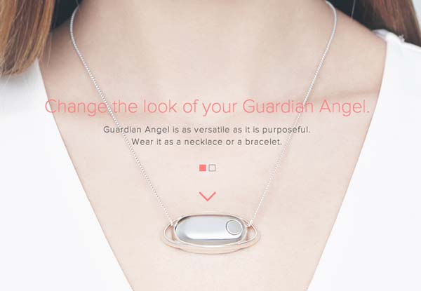 8.) The Guardian Angel necklace, which will either cause your phone or ring or will send a text to a friend when you press a button.