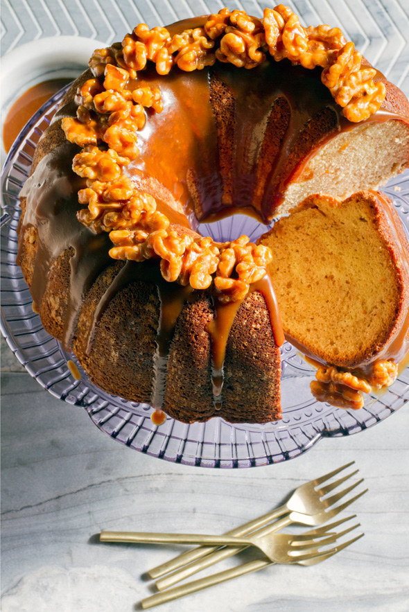 Cinnamon Swirl Bundt Cake with Coffee-Caramel Sauce