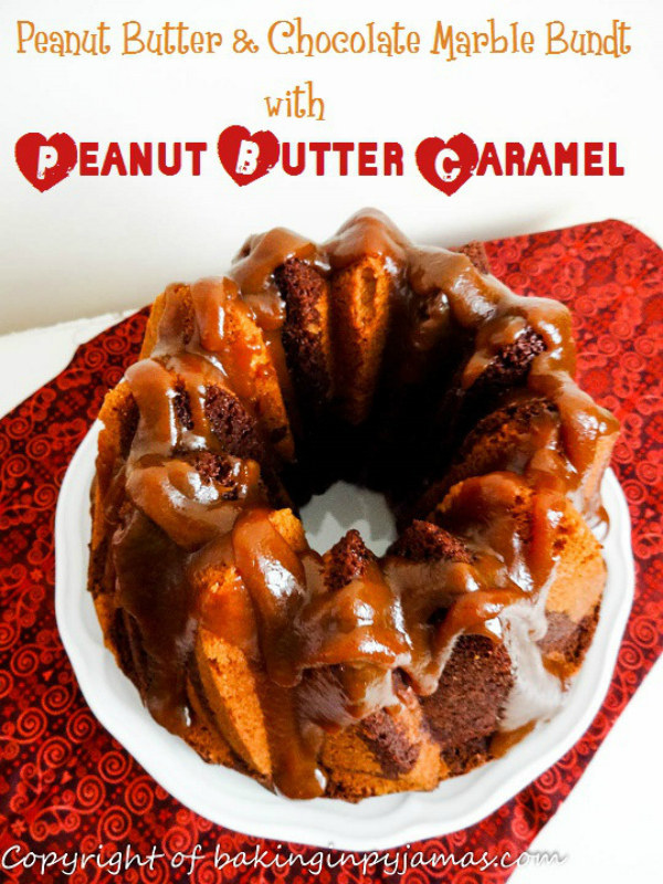 Peanut Butter & Chocolate Marble Bundt with Peanut Butter Caramel